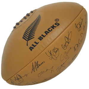 Gilbert Rugby Vintage Leather All Blacks Signature Match Ball