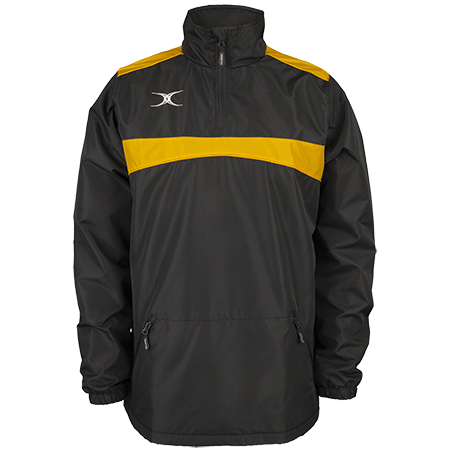 Gilbert Rugby Clothing Photon Mens Quarter Zip Black & Gold Front