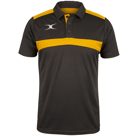 Gilbert Rugby Clothing Photon Mens Polo Black & Gold Front