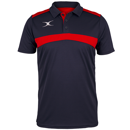 Gilbert Rugby Clothing Photon Mens Polo Dark Navy & Red Front