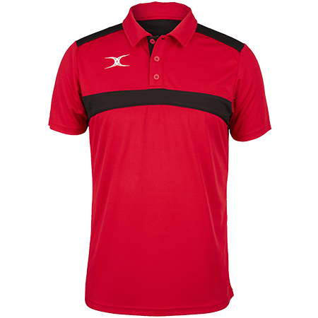 Gilbert Rugby Clothing Photon Mens Polo Red & Black Front