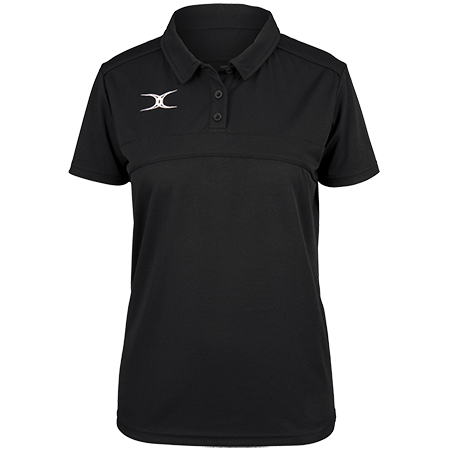 Gilbert Rugby Clothing Photon Ladies Polo Black Front