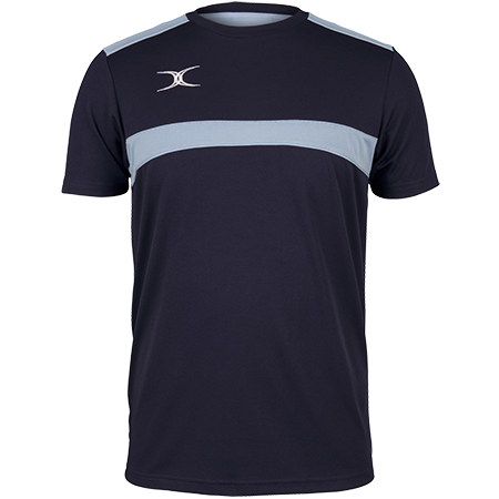 Gilbert Rugby Clothing Photon Mens Tee Dark Navy & Sky Front