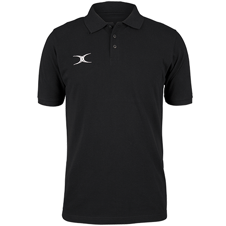 Gilbert Rugby Clothing Quest Mens Polo Black Front