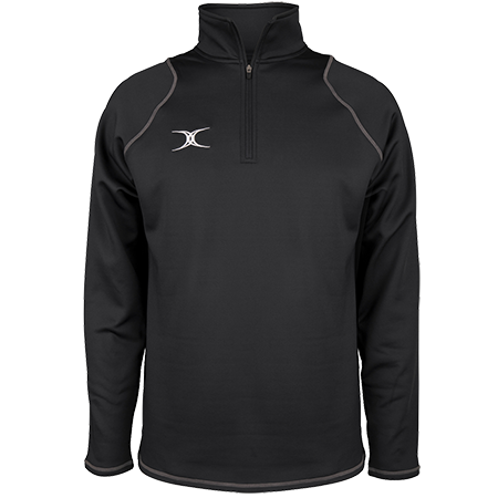 Gilbert Rugby Clothing Quest 2 Mens Quarter Zip Fleece Black Front