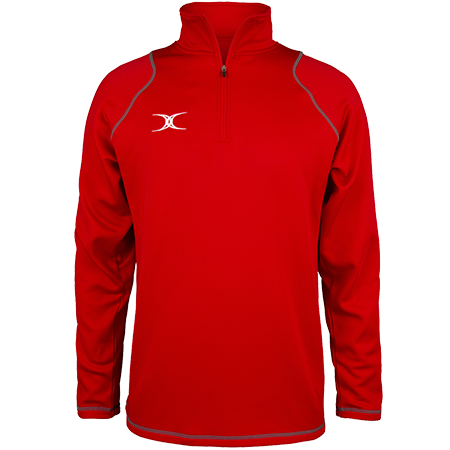 Gilbert Rugby Clothing Quest 2 Mens Quarter Zip Fleece Red Front