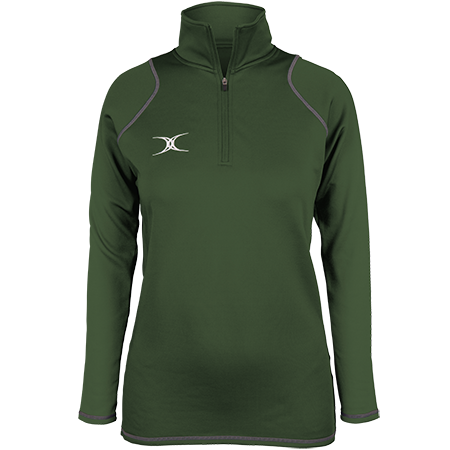 Gilbert Rugby Clothing Quest 2 Ladies Quarter Zip Fleece Ladies Green Front