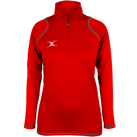 Gilbert Rugby Clothing Quest 2 Ladies Quarter Zip Fleece Ladies Red Front