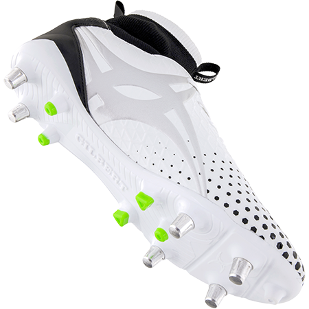 Gilbert Rugby Boots Shiro Pro 6 Stud White Main